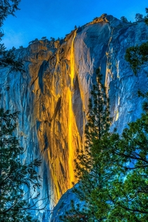 The Firefall - Confluence of light setting sun position temperature and available melting snow- Horsetail Fall Yosemite National Park
