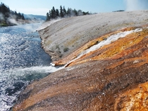 The Firehole River in Yellowstone National Park has many hot springs and geysers flowing into it