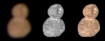 The first color image of Ultima Thule taken at a distance of  km at  UT on January