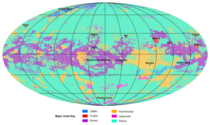 The first global geologic map of Titan Saturns largest Moon is based on radar and visible-light images from NASAs Cassini mission which orbited Saturn from  to  Labels point to several of the named surface features Credit NASAJPL-CaltechASU