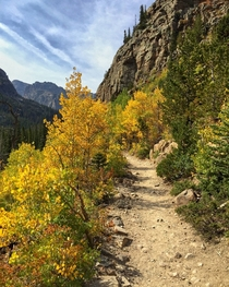 The first magnificent signs of autumn are here in Rocky Mountain National Park Colorado USA