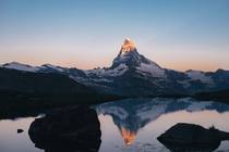 The first morning light on the Matterhorn