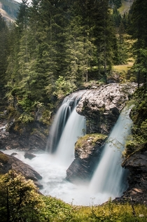 The first one of the Simmenflle - a cascading series of waterfalls going down a ravine in Lenk Switzerland