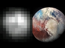 The first photo of Pluto vs the last