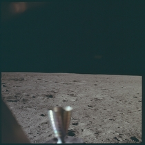 The first photo taken by humans on the moon