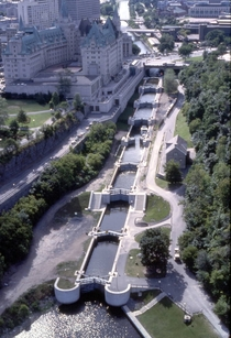 The flight of eight locks at Ottawa Lockstation on the Rideau Canal
