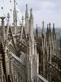 The flying buttresses and pinnacles of the Cologne Cathedral Klner Dom