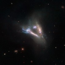 The Flying V two galaxies colliding