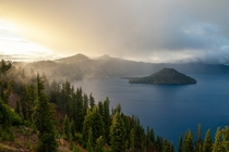 The fog breaks at Crater Lake