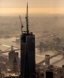 The Freedom Tower in NYC when it was still under construction viewed from the West