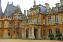 The front entrance of Waddesdon Manor in Buckinghamshire England that was built in the Neo-Renaissance style of a French chteau between  and