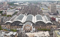 The front faade of Frankfurt Central Station undergoing reconstruction  by Thomas Wolf
