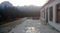 The front porch of Hotel Durmitor in Zabljak Montenegro