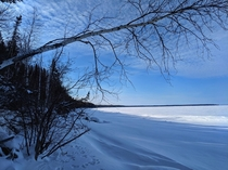 The frozen edge of Lake Winnipeg tenth largest freshwater lake in the world Photo taken from the shores of Hecla Island