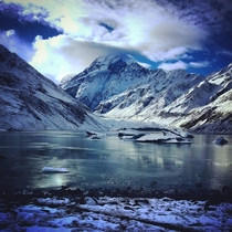 The frozen lake at the end of the Hooker Valley track Mount Cook New Zealand