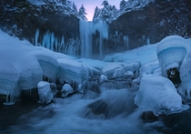The Frozen Throne Tamanawa Falls in the Mt Hood Wilderness in a deep freeze