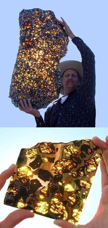 The Fukang Meteorite Found In China Is  Billion Years Old And Is Made Of Something Called Pallasite Along With Olivine Peridot Crystals It Is Considered To Be The Most Fascinating Meteorite Ever Discovered