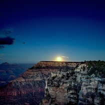 The full moon rises over the Grand Canyon OC