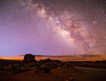 The galactic core rising in Monument valley Utah