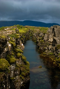 The Gap between the North American and Eurasian Tectonic Plates ingvellir National Park Iceland