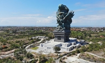 The Garuda Wisnu Kencana statue in Bali measuring  feet  meters The copper-and-steel monument of Lord Vishnu riding on the mythical bird Garuda opened in September
