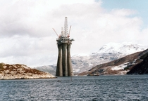 The gas platform Troll is towed from Stavanger in Western Norway to its position in the North Sea