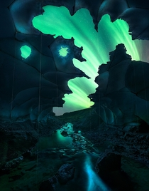 The Ghost Cave - Aurora-filled skies near the Vatnajkull glacier Photo by Max Rive Xpost rIsland