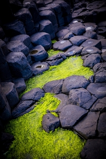 The Giants Causeway tide pools on a cliff North Ireland -