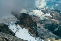 The glaciers around Lake Louise from the summit of Haddo Peak