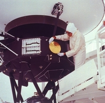 The Golden Record Being Mounted on the Voyager II Space Probe Kennedy Space Center