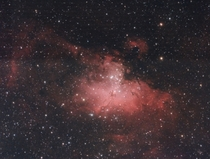 The gorgeous Eagle Nebula and at its heart the Pillars of Creation Total imaging time of  hours using a ZWO color camera amp Vixen from my observatory in Abu Dhabi