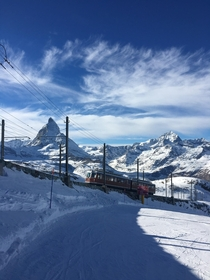 The Gornergrat Bahn above Zermatt in Switzerland
