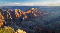 The Grand Canyon at sunset from Bright Angel Point on the north rim - Grand Canyon National Park AZ USA