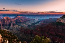 The Grand Canyons North Rim at sunset  photo by Michael Horodyski