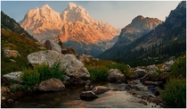 The Grand Teton as seen from Cascade Canyon Wyoming