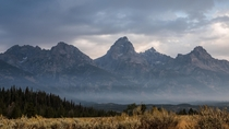 The Grand Teton Range is always breathtaking but especially at dawn