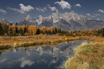 The Grand Tetons reflecting in the Snake River