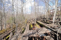 The grandstands at the abandoned Beach Haven Speedway in Berwick PA