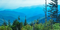 The Great Smoky Mountains from the highest point on the Appalachian Trail