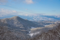 The Great Smoky Mountains of North Carolina USA covered in six inches of snow