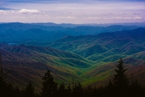 The Great Smoky Mountains on the road to Clingmans Dome x