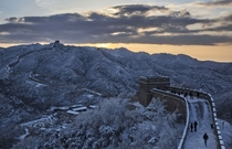 The Great Wall after a snowfall Beijing China  Photo by Kevin Frayer