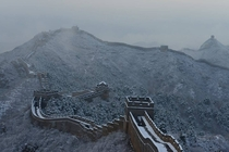 The great wall after snowfall in Hebei Province China