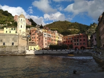 The harbour of Vernazza viewed from the breakwater - one of the cinque terre in Liguria Italy