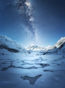 The highest mountain in New Zealand under the Milky Way with the moon setting  south_of_home
