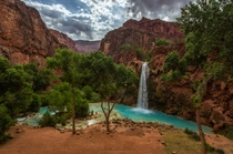 The hike to Havasu Falls is long but sooo rewarding for this sight