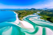 The Hill Inlet Whitsunday Islands in Queensland Australia from a seaplane  IGpaulmp