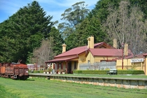 The historic railway station in the former logging town of Trentham is now a weekend visitor information centre the area is today known for potato farming Victoria Australia