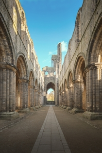 The historic ruins of Kirkstall Abbey in Leeds England