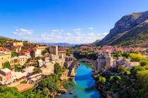 The historic town of Mostar built along the Neretva River in Bosnia and Herzegovina